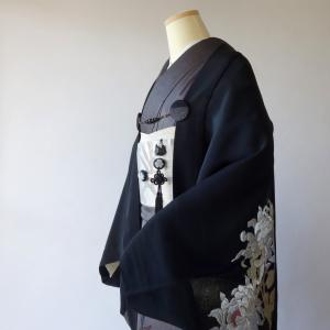 黒留袖リメイク/セミオーダー/モモンガ着物羽織、大ぶり菊の制作