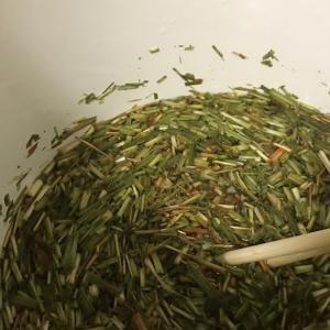 レモングラスとコブナ草でレッグウォーマーを染める
