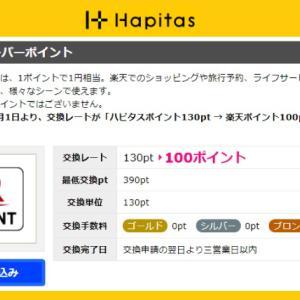 【ハピタス】楽天ポイントの交換レート変更 / ハピタス130pt → 楽天100pt