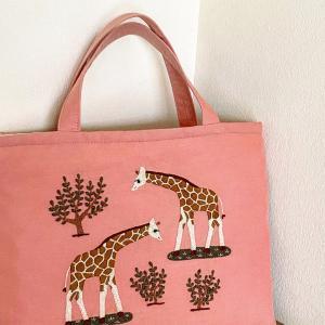 動物刺繍のレッスンバッグ