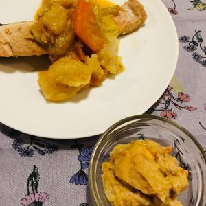 ミキサー食:収穫の秋。今日はご当地グルメ鮭のちゃんちゃん焼きにしよう。