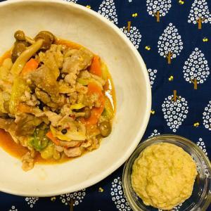 ミキサー食レシピ:ちょっぴり辛い白菜と豚肉のマヨみそ炒め