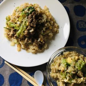 介護食:牛肉とレタスのチャーハン & 最後のお弁当