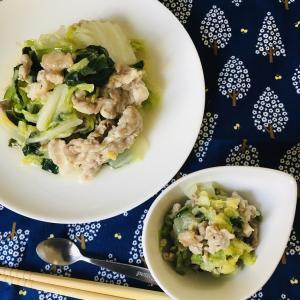 介護食:白菜と豚肉の塩だれ炒め & 予防接種