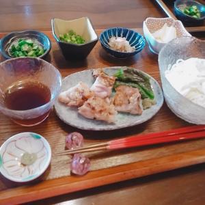 素麺と、鶏のグリルを柚子胡椒で