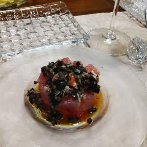 マグロとトマトの前菜とジェノベーゼに、アマゾンプライムデー