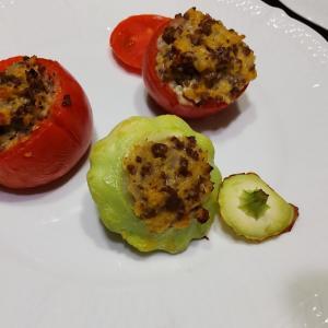 UFOズッキーニとトマトの肉詰めと、ラタトゥイユ