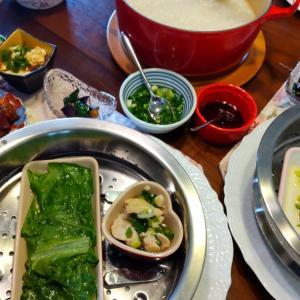 中華粥と中華おかず色々ランチ