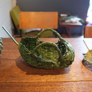 (日記)棕櫚の籠編み、貝類館、グラタン
