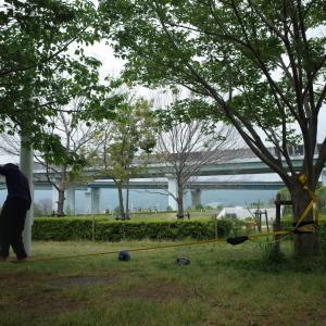(日記)newレジャーアイテム導入「スラックライン」、公園、GW最終日