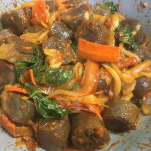 韓国家庭料理 エゴマの葉が香るスンデポックン 순대볶음