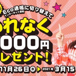 Eco通帳(インターネット通帳)に切り替えてもれなく1,000円プレゼント!