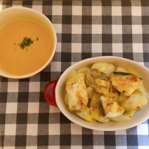 タラとポテトのチーズ焼き&かぼちゃスープ