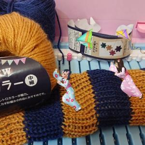 おもちゃ編み機アミーナ しましまを編む セリア new深みカラー中細