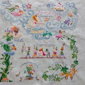 完成★かわいい刺しゅう夏のタペストリー デアゴスティーニ 感想 人魚姫 ジャックとマメの木など
