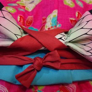 女の子の袴作り11途中経過 帯を作る cosmotextile kimono hakama