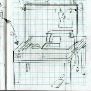 埋め込みミシン台をDIY2・構想 パッチワーク作業台・埋込み式ミシン台 sewing machine table ジャノメ 主婦のDIY
