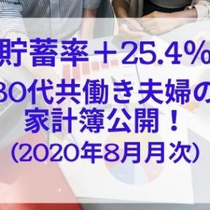 【貯蓄率+25.4%】30代共働き夫婦の家計簿公開!(2020年8月月次)