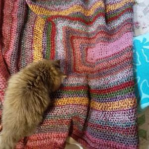 手編みの毛布