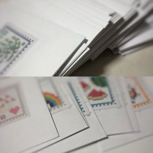 クロスステッチの「切手」のチャート大量完成です。