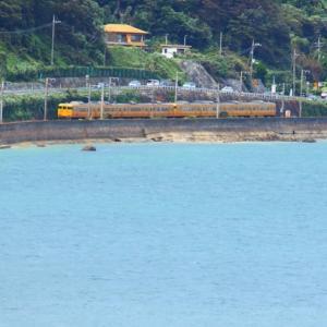 【鉄道写真】大畠瀬戸の濃黄色115系電車