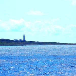 【風景写真】角島灯台と貨物船