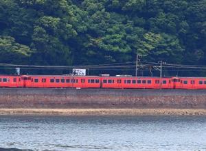 【鉄道写真】朱色キハ40・キハ47が大畠瀬戸を走る~♪