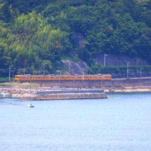 【鉄道風景写真】柳井市大畠瀬戸のJR西日本115系電車とJR貨物EF210-148電気機関車