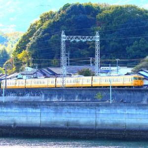 【鉄道写真】山陽本線尾津海岸から濃黄色115系電車N編成4両を見ました~♪