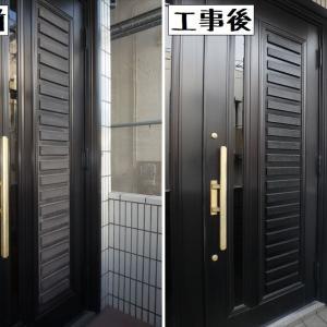 練馬区大泉町で玄関ドアの塗装をしました!