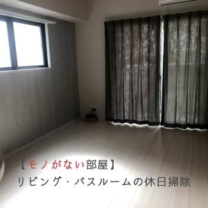 【モノがない部屋】リビングとバスルームの休日掃除