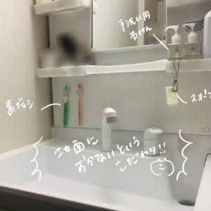 【歯ブラシも】意地でも洗面台にものを置きたくないので浮かせる収納にしている【スポンジも】
