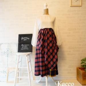 再来♪ラップスカート付きタータンチェックの秋冬スカート完成