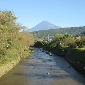 台風19号の影響で須津川の水かさが増す