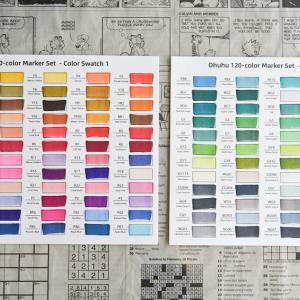 Ohuhu120色アルコールマーカー 色見本を作りました