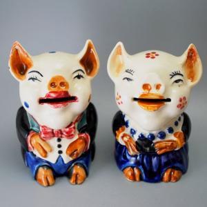 お相手があった豚さんの貯金箱:オキュパイドジャパン