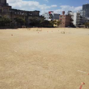 フニーニョサッカーフェスタの会場設営終了