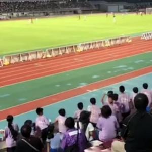 沖縄のスタンドが藤色に染まった(^^)v