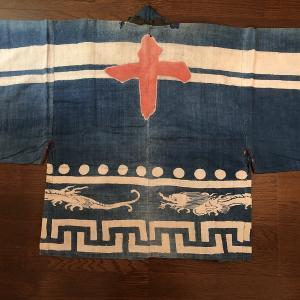 日本 江戸期の藍染半纏と江戸・明治の衣装など