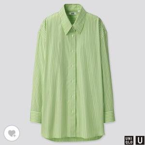 ユニクロ WOMEN コットンオーバーサイズストライプシャツ(長袖)
