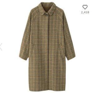 GU WOMEN ウールブレンドチェックステンカラーコート