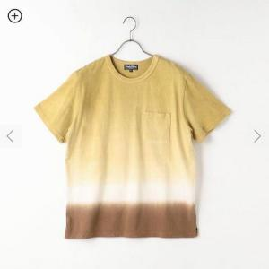 Purple&Yellow 胸ポケット 段染め クルーネックTシャツ