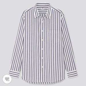 ユニクロ MEN エクストラファインコットンブロードストライプシャツ(長袖)
