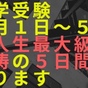 【中学受験】2月1日~5日は怒涛の5日間になる【人生最大】