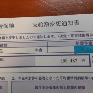 貰えるだけでありがたい。年金支払額変更通知書が届く。