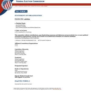 「愛国者党」を正式にFECに提出