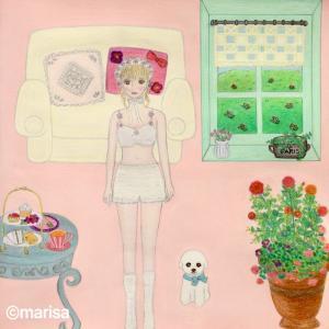 「ガーリーな女の子の部屋」イラストTシャツ、トートバッグ販売