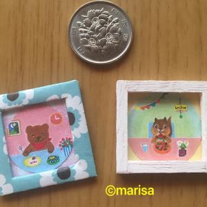 リスとクマのミニチュア額縁絵画(試作作り)