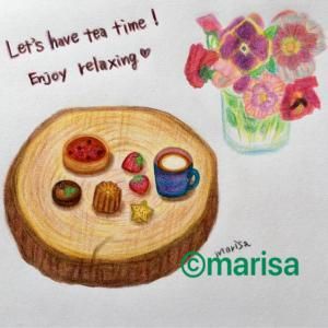 「Let,s have tea time!」お茶にしましょう!(色鉛筆のイラスト)