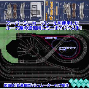 ◆鉄道模型、TOMIX、ミニポイント入手!スーパーミニカーブレールを使用したループ線の追加検討準備